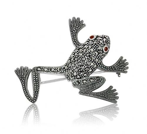 Sterling Silver | Marcasite | Frog Brooch